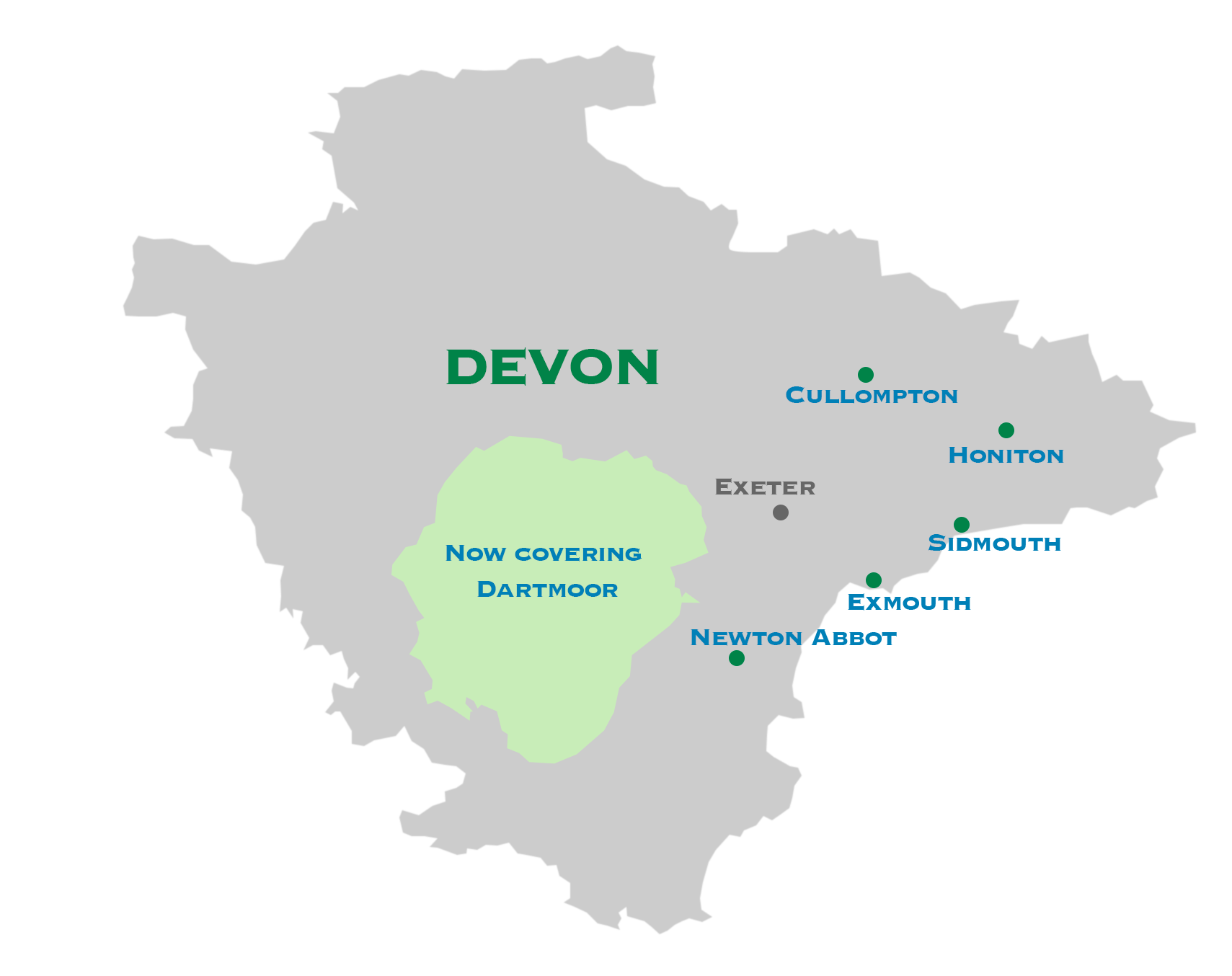 Devon map: Covering Dartmoor & East Devon: Cullompton, Honiton, Sidmouth, Exmouth and Newton Abbot